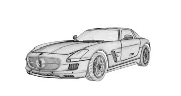 drawing of mercedes car