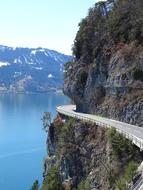 panorama of a mountain road in Switzerland