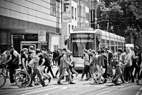 Road Tram City and people