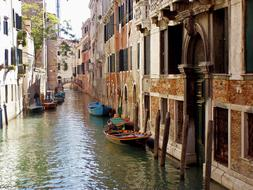 Venice City canal and boat