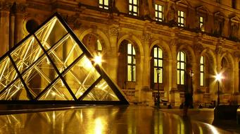 Paris Louvre Museum lights