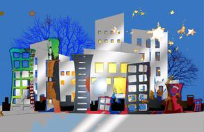 architecture city houses banner drawing