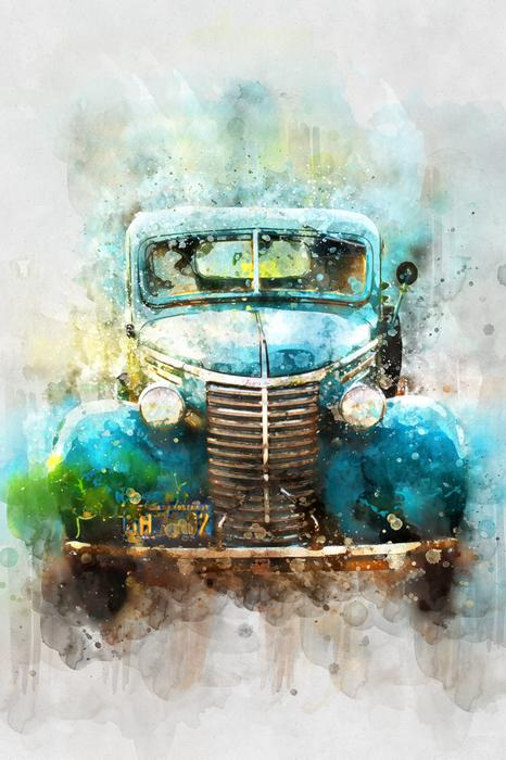 car old car watercolor drawing