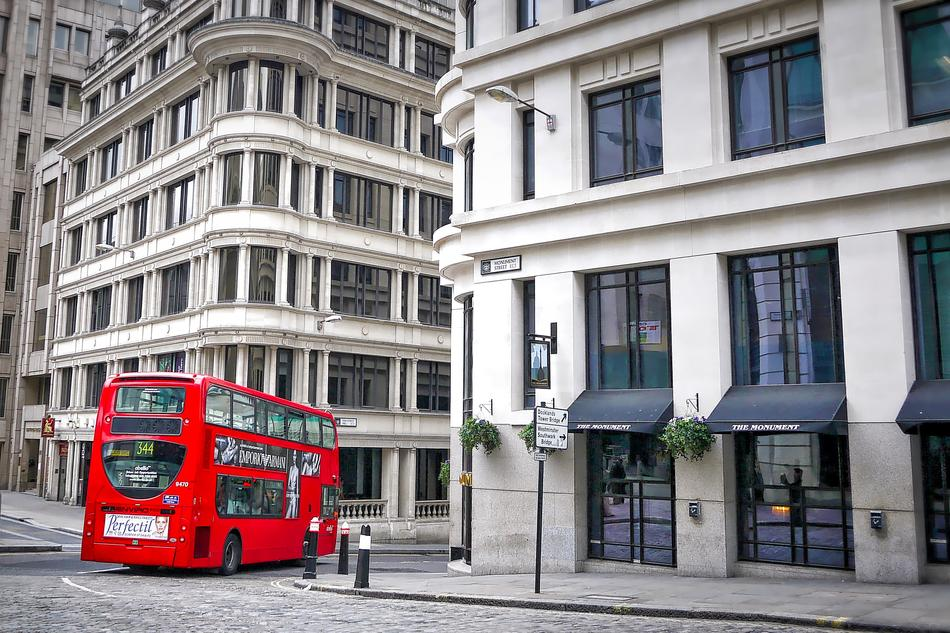 London Red Bus on street