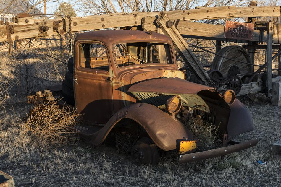 old rusty truck on a farm in Texas