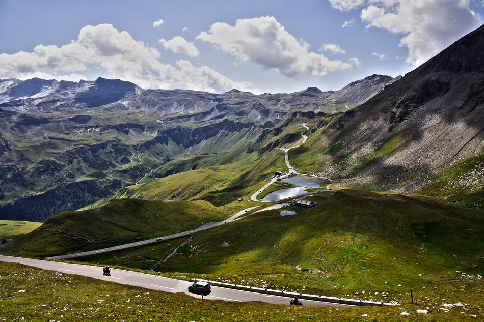 panoramic view of the mountain pass in the high Tauern mountains