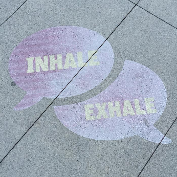 Street Art Breathe Inhale text