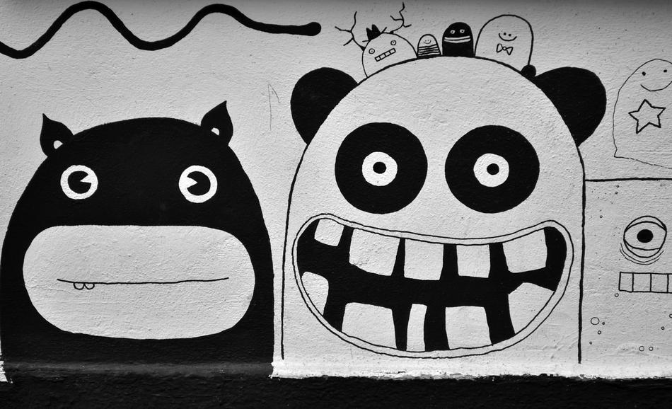 Street Art Graffiti face monsters drawing