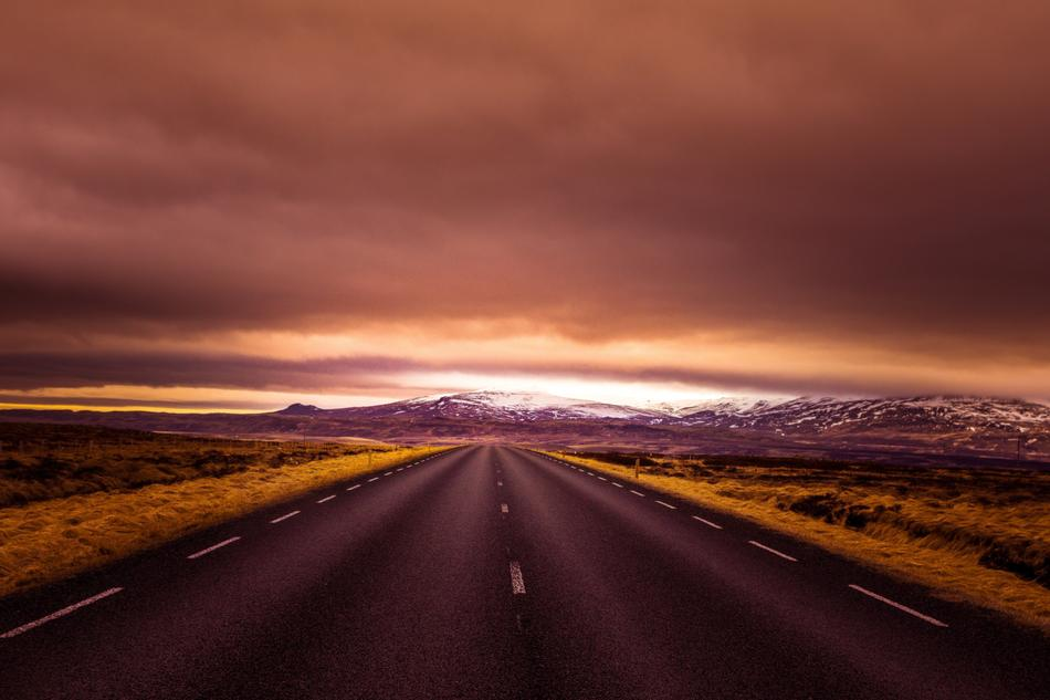 Iceland Road red sunset