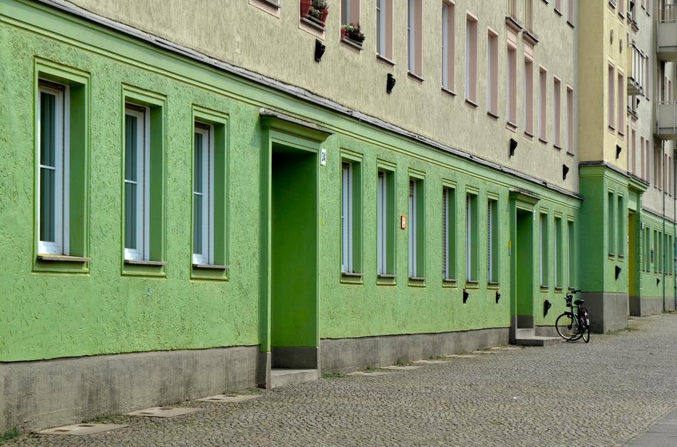 cityscape of green House and Street