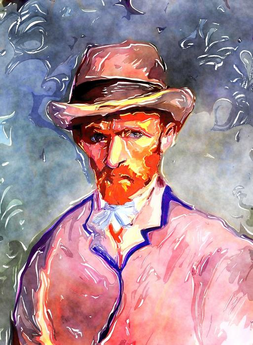Beautiful and colorful watercolour portrait drawing of Vincent Van Gogh