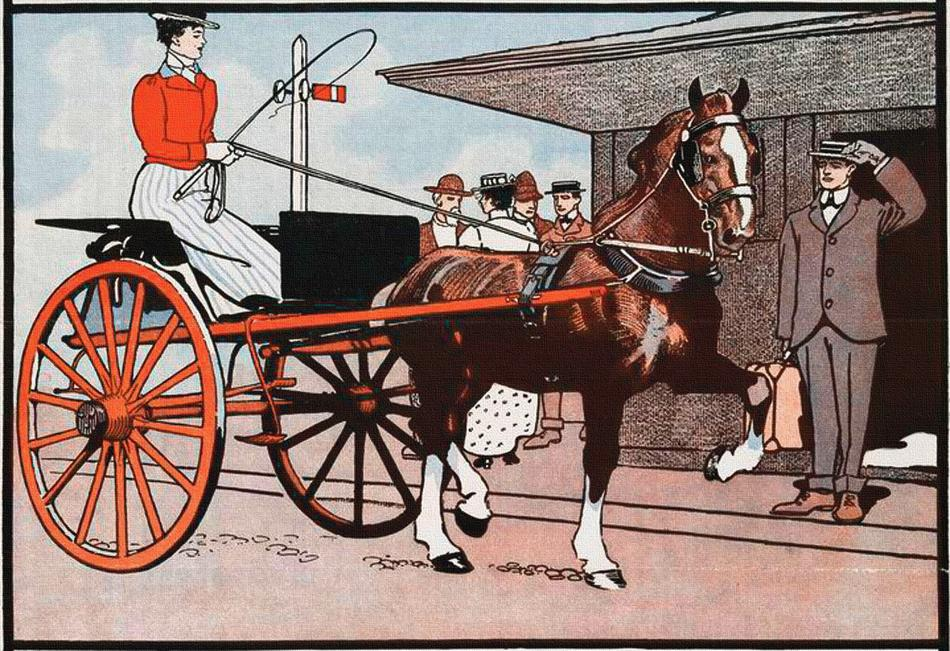 horse cart wagon vintage lady drawing