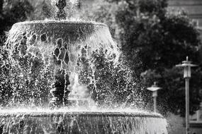 Fountain Water black and white