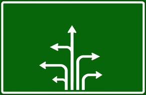 road sign arrows white drawing