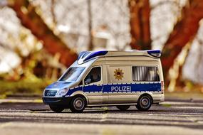 Police Car Bus Blue white