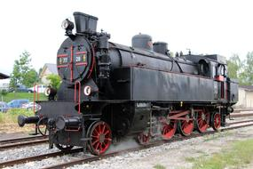 black locomotive as an exhibit