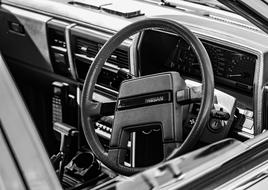 Steering Wheel Car black and white