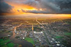 Aerial Netherlands city sunset