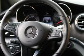 black Leather Steering Wheel Mercedes