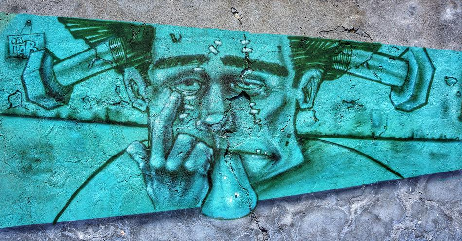 Street Art Graffiti face man drawing
