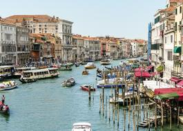 photo of boats on the main canal in Venice