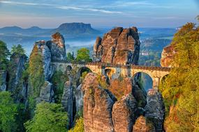 Bastei Bridge in elbe sandstone mountains, germany, Saxon Switzerland