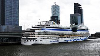 Cruise Ship at city, netherlands, Rotterdam