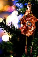Christmas Decoration, golden clock