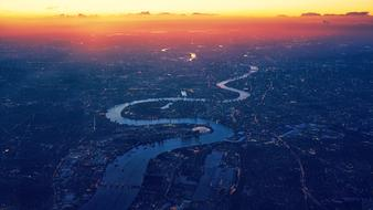 Aerial View of Thames River at dusk, uk, england, London