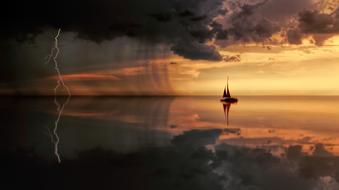 sailing boat in thunderstorm