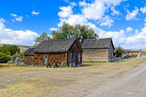 wooden buildings at Bannack State Park in Montana