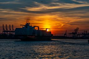 incredible Hamburg Elbe Sunset