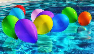 colorful balloons in the pool