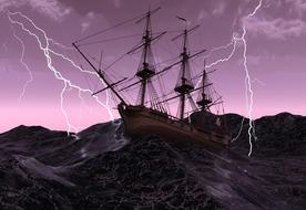 painted sailing ship in a stormy sea on a background of lightning and purple sky
