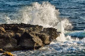 spray on the rocky shore in Ayia Napa, Cyprus