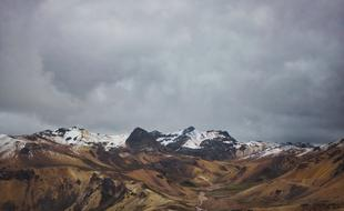 grey clouds above summit of Mountain, Peru, Ayacucho