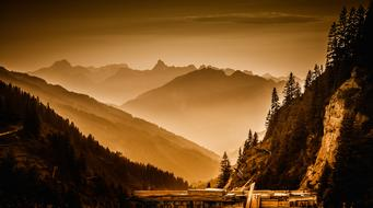 evening photo of the Arlberg mountain range in Austria
