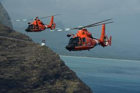 red helicopter in the US Coast Guard