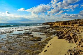 boulders and stone slabs on the shore in Ayia Napa, Cyprus
