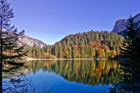 mirror reflection of an autumn forest in an alpine lake