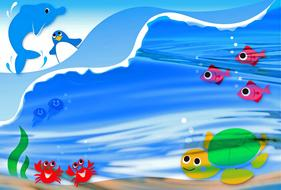 happy cartoon fish and animals on water and underwater