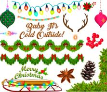christmas greeting with decorations and garlands, drawing