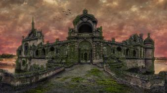 abandoned mossy Chateau Chantilly at dusk, digital manipulation