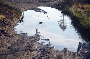 photo of a large puddle on a road in the countryside