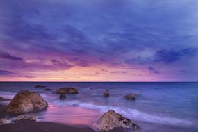 purple-blue sky over the evening ocean
