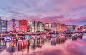 evening photo of the harbor in Trondheim, Norway