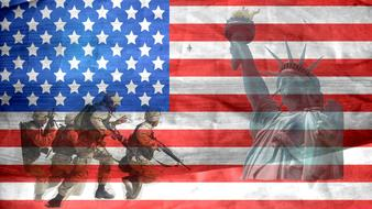 silhouettes of army and statues of Liberty on the background of the American flag