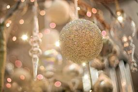 Christmas Ornament Sparkly Gold balls