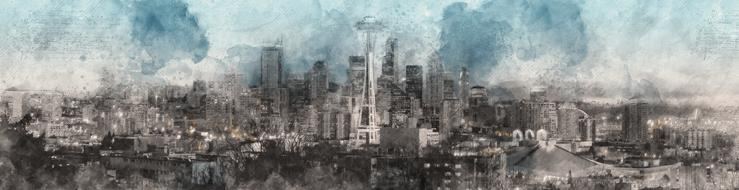 Panoramic Fog city banner drawing