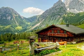 Dachstein Mountains and red house